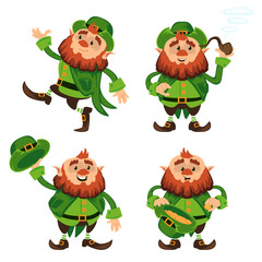 Leprechaun cartoon character vector set for Saint Patrick Day in different poses Funny dwarf emoji variations traditional Irish folklore Celtic mythology with hat and pipe isolated on white background