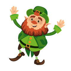 Leprechaun cartoon character or funny green dwarf vector illustration for Saint Patrick Day 17 march traditional Irish folklore Celtic mythology culture dancing with hat isolated on white background