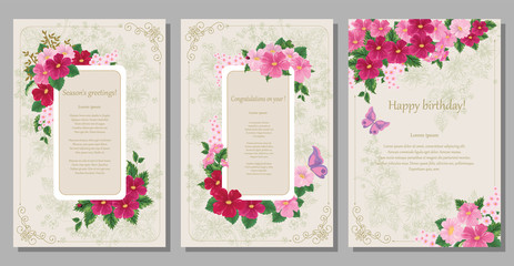 Greeting cards in the floral frames on a beige background with a graphic pattern