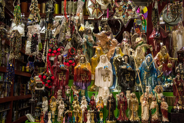 altar of many holy death in traditional market of Mexico