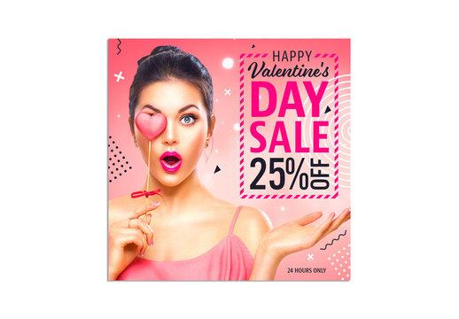 Valentine's Day Sale Social Media Post Layout