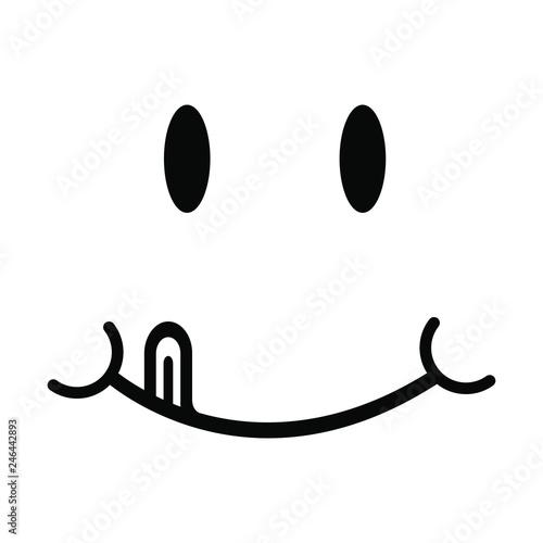 Yummy Smile Vector Illustration Cartoon Line Emoticon With Tongue