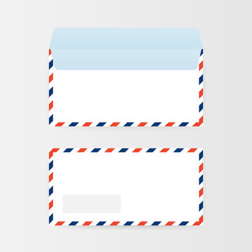 Air mail envelope with postal stamp isolated on white background. Vector illustration.