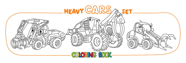 Funny skidder and handler cars coloring book set