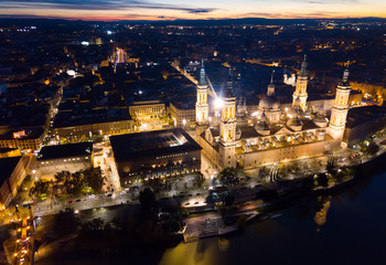 Night aerial view of Zaragoza with Basilica