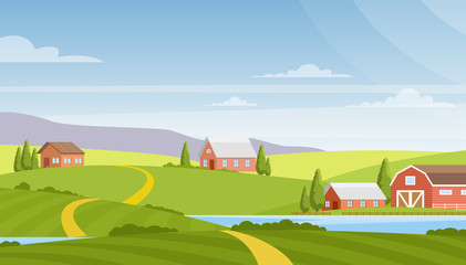 Vector illustration of beautiful rural landscape, farm and fields, river and mountains on background. Countryside concept, nature. Summer rural landscape and pastures in flat cartoon style. Wall mural