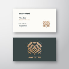 Owl Totem Abstract Vector Logo and Business Card Template. Premium Stationary Realistic Mock Up.