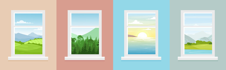 Photo sur Toile Saumon Vector illustration set of windows with different landscapes. Town and sea, forest and mountains views from the windows in flat cartoon style.