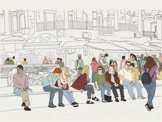Hand drawn illustration. Crowd of people in the busy marketplace of Monastiraki Square in Greece, with storefronts behind.