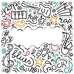 Musical background.hand drawn. Music symbols . Doodle style. Vector illustration.