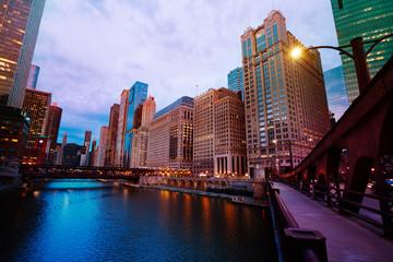 Lake Michigan with bridge and skyscrapers, Chicago