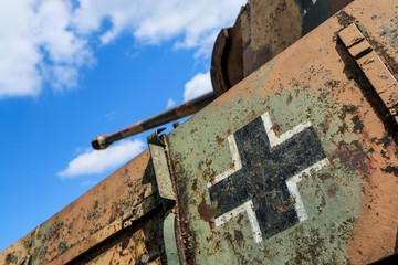 A detail picture of a German tank from the Second world war.