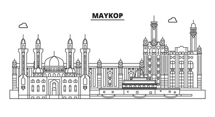 Russia, Maykop. City skyline: architecture, buildings, streets, silhouette, landscape, panorama, landmarks. Editable strokes. Flat design, line vector illustration concept. Isolated icons