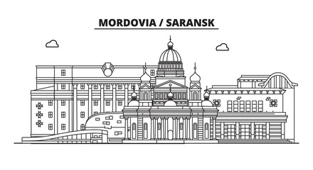 Russia, Mordovia, Saransk. City skyline: architecture, buildings, streets, silhouette, landscape, panorama, landmarks. Editable strokes. Flat design, line vector illustration concept. Isolated icons