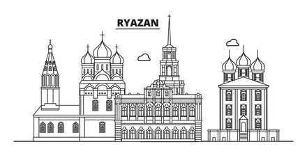 Russia, Ryazan. City skyline: architecture, buildings, streets, silhouette, landscape, panorama, landmarks. Editable strokes. Flat design, line vector illustration concept. Isolated icons