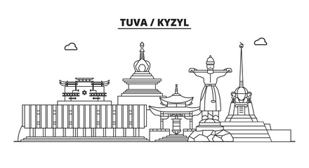 Russia, Tuva, Kyzyl. City skyline: architecture, buildings, streets, silhouette, landscape, panorama, landmarks. Editable strokes. Flat design, line vector illustration concept. Isolated icons