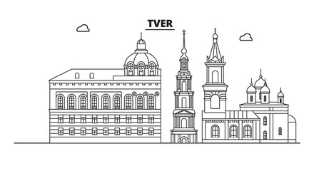 Russia, Tver. City skyline: architecture, buildings, streets, silhouette, landscape, panorama, landmarks. Editable strokes. Flat design, line vector illustration concept. Isolated icons