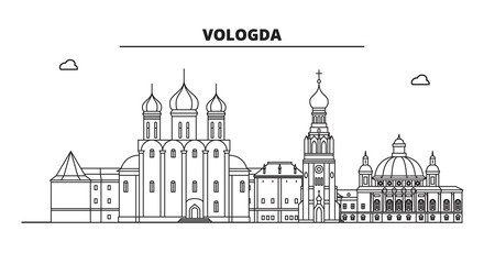 Russia, Vologda. City skyline: architecture, buildings, streets, silhouette, landscape, panorama, landmarks. Editable strokes. Flat design, line vector illustration concept. Isolated icons