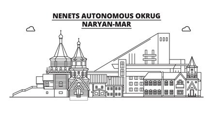 Russia, Nenets Autonomous Okrug, Naryan-Mar . City skyline: architecture, buildings, streets, silhouette, landscape, panorama, landmarks. Editable strokes. Flat design line vector illustration concept