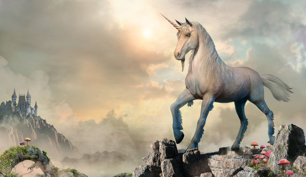 Unicorn scene 3D illustration