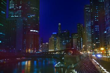 Night view of Chicago embankment and Marina City