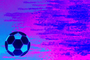 soccer ball on bright abstract neon background