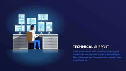 Technical Support Administrator. Man Character