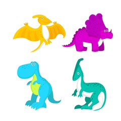 Adorable little dinosaur vector illustration for kids fashion, funny dino in cartoon style. Ideal for cards, invitations, party, banners, kindergarten, baby shower, preschool and children room