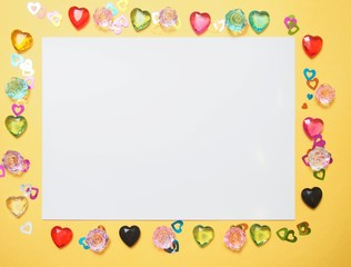 Background picture for Valentine's day or March 8. Multi-colored hearts.