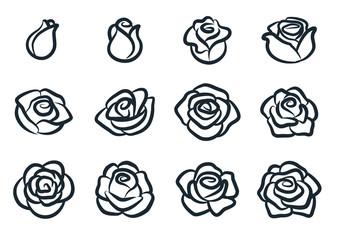 Black and white rose flower vector illustration. Simple rose blossom icon set. Nature, gardening, love, Valentine's day theme design element.