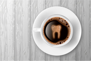Cup of coffee with tooth from foam realistic vector illustration. Coffee spoils teeth and makes them yellow