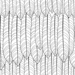 Vector seamless pattern with outline tropical leaves in black on the white background. Monochrome floral pattern with ornate foliage in contour style for exotic summer design and coloring book.