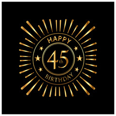 Happy Birthday stock vector template, Happy Birthday forty 45 year