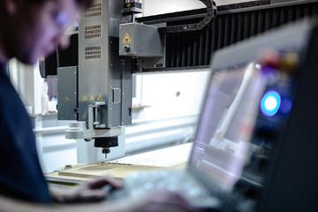 CNC machine while working