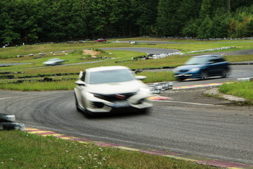 A picture from a small race track, where the free rides are performed. Drivers can drive for fun during the weekend free races.