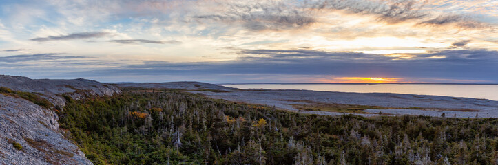 Scenic Canadian Landscape View on the Atlantic Ocean Coast during a cloudy sunset. Taken in Burnt Cape Ecological Reserve, Raleigh, Newfoundland, Canada.