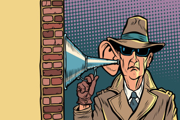 spy or secret agent of the state, wiretapping and surveillance - fototapety na wymiar