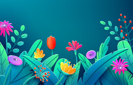Summer border with paper cut fantasy flowers, leaves, stem isolated on dark backdrop. Minimal 3d style floral spring background. Bright nature origami. Vector illustration
