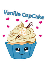Vanille cupcake mit niedlichen Gesicht im Kawaii Stil. Vektorgrafik EPS 10