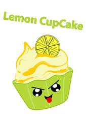 Zitronen cupcake mit frechem Gesicht im Kawaii Stil. Vektorgrafik EPS 10