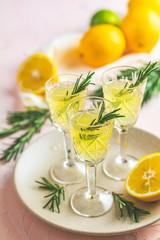 Traditional italian homemade lemon alcohol drink liqueur limoncello