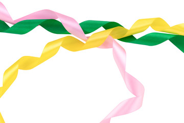 Papiers peints Animaux geometriques colored ribbons, green, pink,yellow purple on white background, with clipping path