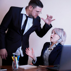 Fototapeta Office conflict between man and woman at work. Negative emotions and business threat, team concept obraz