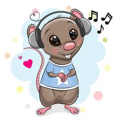Cute cartoon Rat with headphones