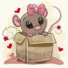 Greeting card with Cartoon Rat girl and a box