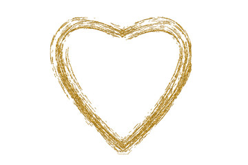 Golden hand drawn heart on white background. Heart print for fabric clothing decoration. Heart from gold glitter