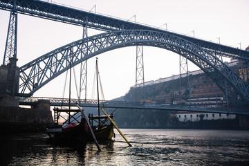 Douro river and Dom Luis I bridge before dawn, Porto, Portugal.