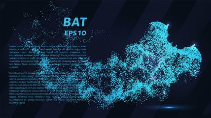 Bat. Glowing dots to create the shape of a bat. Vampire, Halloween, night and other illustration or background concepts.