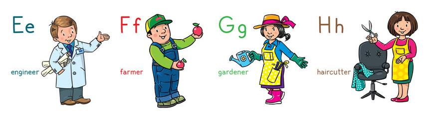 ABC professions set. Engineer, farmer, gardener, hairdresser