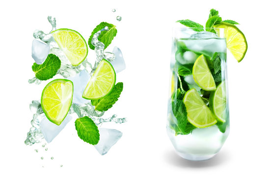 Mojito coctail  with fresh mint leaves and lime slice isolated